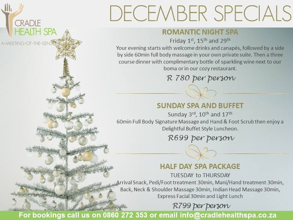 Back, Neck & Shoulder, Indian massage, foot & hand treatments, express facial and light lunch  R700 pp